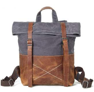 EAZO - Waxed Canvas Backpack With Vintage Leather Detail In Grey