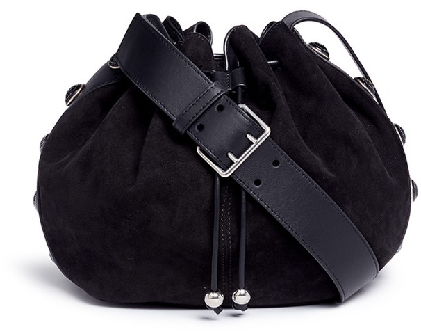 Alexander McQueenAlexander McQueen Floral button suede drawstring bucket bag