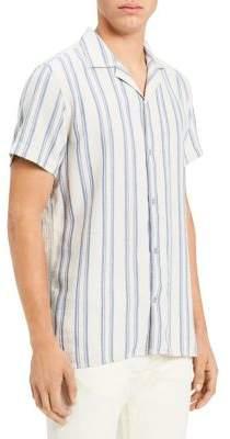 Calvin Klein Jeans Loose Twill Stripe Short-Sleeve Cotton Button-Down Shirt