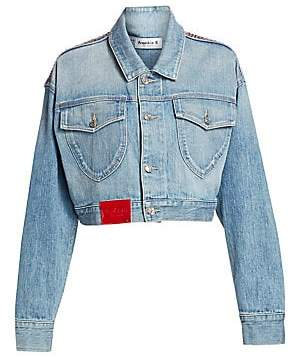 37ca047c600 Frankie B. Women s Cropped Rhinestone Denim Jacket