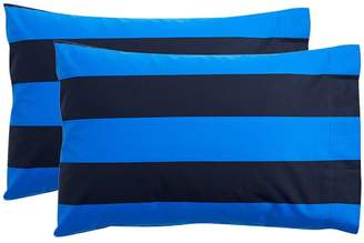 Pottery Barn Teen Rugvy Stripe Extra Pillowcases, Set of 2, Navy/Strong Blue
