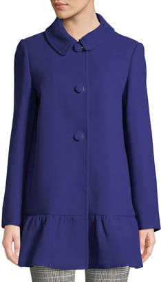 Kate Spade Wool Button-Front Peplum Coat