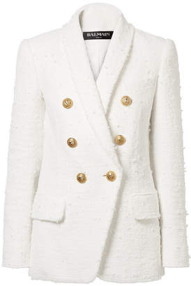 Balmain Double-breasted Bouclé-tweed Blazer - White