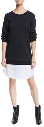 Derek Lam 10 Crosby Crewneck Sweatshirt Dress with Shirting Hem
