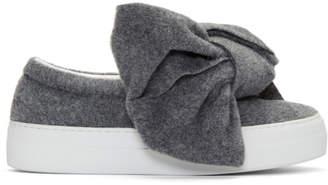 Joshua Sanders Grey Felt Bow Slip-On Sneakers