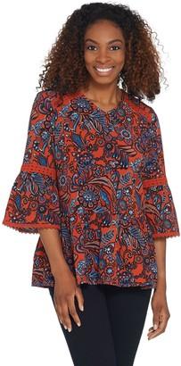 Denim & Co. Printed Paisley Bell-Sleeve Blouse w/ Trim