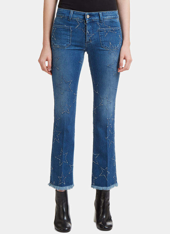 Star Embroidered Kick Flare Jeans in Blue