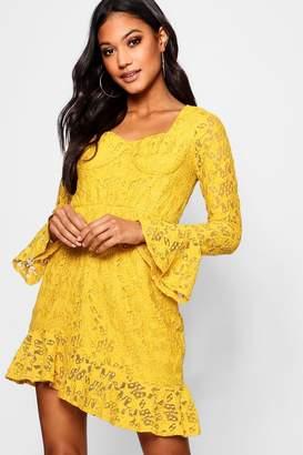 boohoo Bustier Asymmetric Star Lace Tea Dress