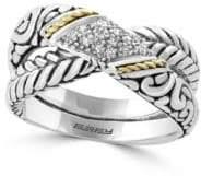 Effy Diamond and 18K Yellow Gold Embossed Ring