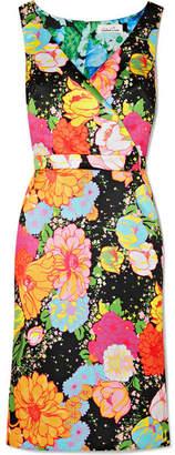 Richard Quinn - Wrap-effect Floral-print Duchesse-satin Midi Dress - Yellow