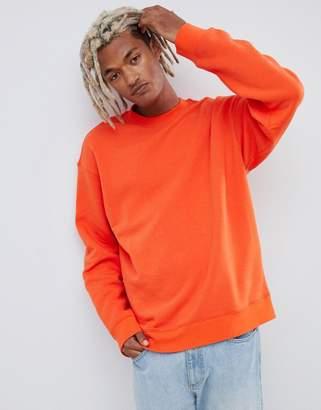 Weekday Steve sweatshirt in orange