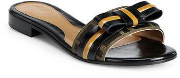 Fendi Leather & Jacquard Canvas Slide Sandals