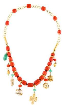 18K Coral, Emerald & Garnet Bead Convertible Necklace