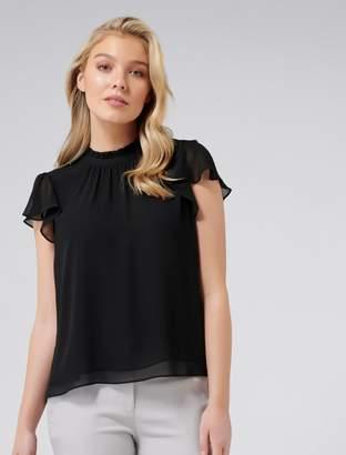 Forever New Laura flutter sleeve blouse - Black. - 6