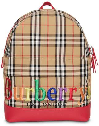 Burberry Embroidered Archive Logo Vintage Check Backpack
