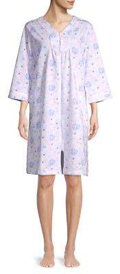 Miss Elaine Floral Brushed Knit Zip Up Robe 0452f3521