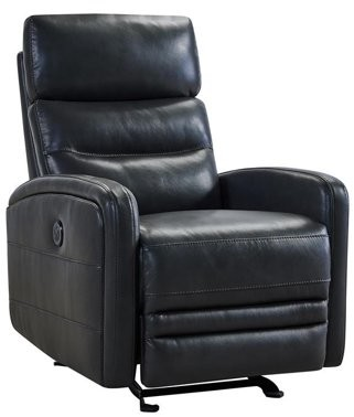 Armen Living Tristan Contemporary Pewter Top Grain Leather Power Recliner Chair with USB