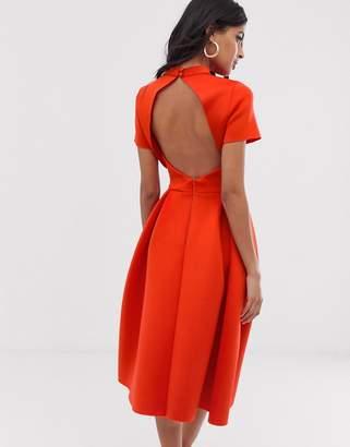Asos Design DESIGN T-Shirt open back prom midi dress