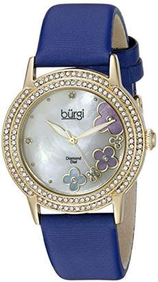Burgi Women's BUR142BU Yellow Gold Quartz Watch With Swarovski Crystal and Diamond Mother of Pearl Dial With Blue Leather Strap