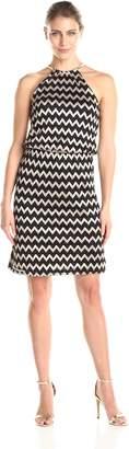 MSK Women's Chevron Print Halter Short Dress, Black/Gold