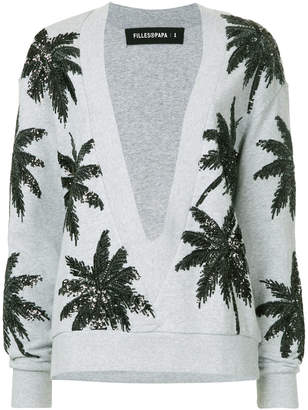 Filles a papa sequined palm intarsia cardigan