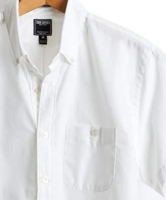 Todd Snyder Short Sleeve Pique Button Down Shirt in White