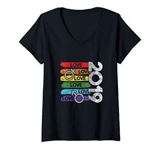 Womens 2019 Rainbow LGBT Pride Day Parade Pride Month LGBTQ V-Neck T-Shirt