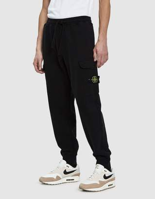 Stone Island Garment Dyed Fleece Cargo Pant in Black