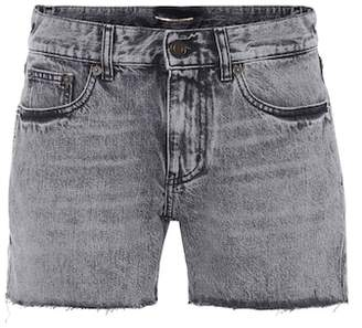 Saint Laurent High-waisted denim cut-off shorts