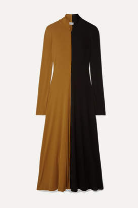 Rosetta Getty Two-tone Cotton-jersey Turtleneck Midi Dress - Saffron