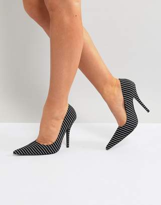 Public Desire Tease Black Striped Court Shoes