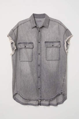 H&M Short-sleeved Denim Shirt - Dark gray - Men