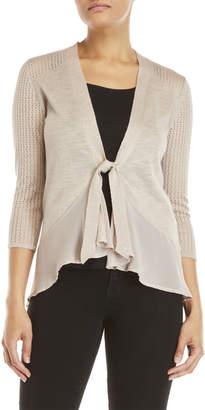 August Silk Pointelle Knit Tie-Front Cardigan