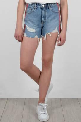 Molly Bracken Stripe Denim Shorts