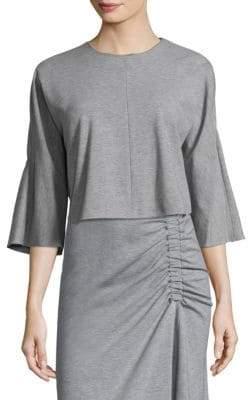 Tibi Bell-Sleeve Crop Top