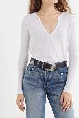 Truly Madly Deeply Ribbed Notch Henley Top