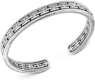 Effy Men Chain-Look Textured Cuff Bracelet in Sterling Silver