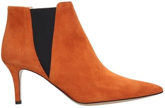 Fabio Rusconi Ankle Boots In Orange Suede