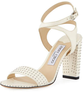 Jimmy Choo Marine Studded Leather Block-Heel Ankle-Strap Sandal