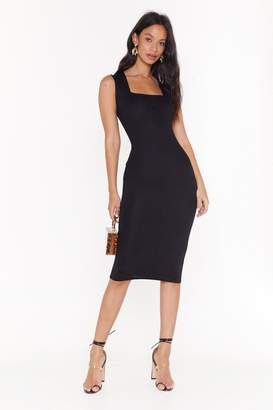 Nasty Gal Womens Fit Right In Square Neck Midi Dress - Black - 4