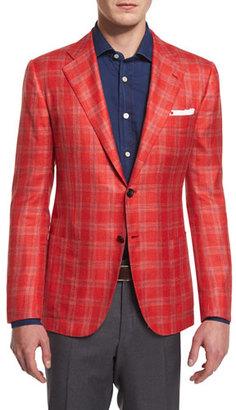 Kiton Cashmere-Blend Plaid Sport Coat, Red $6,995 thestylecure.com