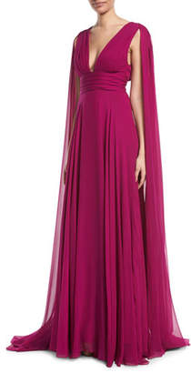 Monique Lhuillier V-Neck Shoulder-Streamers Draped Silk Chiffon Evening Gown