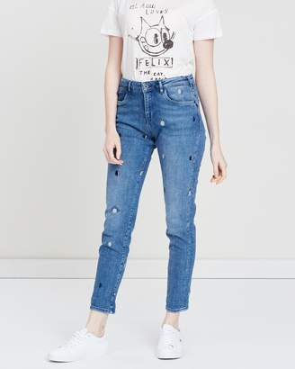 Maison Scotch Petit Ami Blauw Slim Boyfriend Fit Jeans