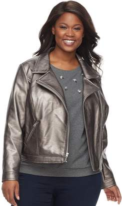 Apt. 9 Women's Plus Zipper Moto Jacket