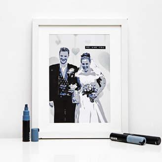 Hidden Image Direct Personalised Stencil Wedding Portrait