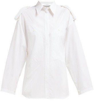 Givenchy Pinstriped Shoulder Epaulette Cotton Shirt - Womens - Beige Stripe