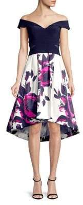 Xscape Evenings Floral Hi-Lo Off-The-Shoulder Dress