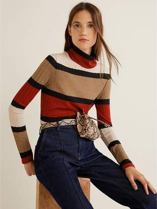 MANGO Knitted Striped Top - Brown