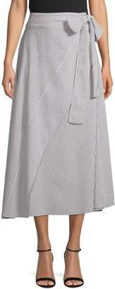 Diane von Furstenberg Striped Cotton Wrap Skirt