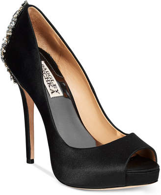 Badgley Mischka Kiara Embellished Peep-Toe Evening Pumps Women's Shoes